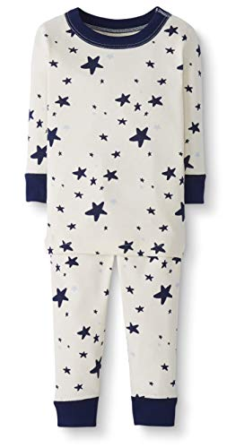 Moon and Back by Hanna Andersson Baby/Toddler 2-Piece Organic Cotton Long Sleeve Star Print Pajama Set, Navy, 18-24 - Star Organic