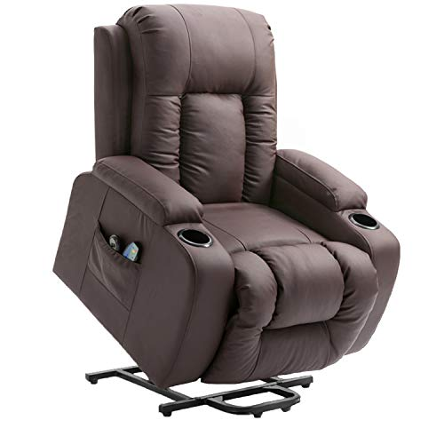 Rainbow Tree Massage Recliner Chair, Electric Power Lift Chair with Massage, Heat and Vibration 160 Degree Recline PU Leather 8 Point Massage Sofa Recliner Heated Chair with Cup Holders