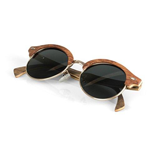Viable Harvest Women's Wood Sunglasses, Designer Frames with Polarized Lenses and Wooden Gift Box (Rosewood, black)