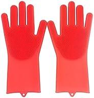 Luvas de Silicone para Lavar Louça Vermelho