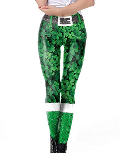 (Fairy Baby Women St. Patrick's Day Tights Stretchy Leggings Skinny Pant for Yoga Running Size L)