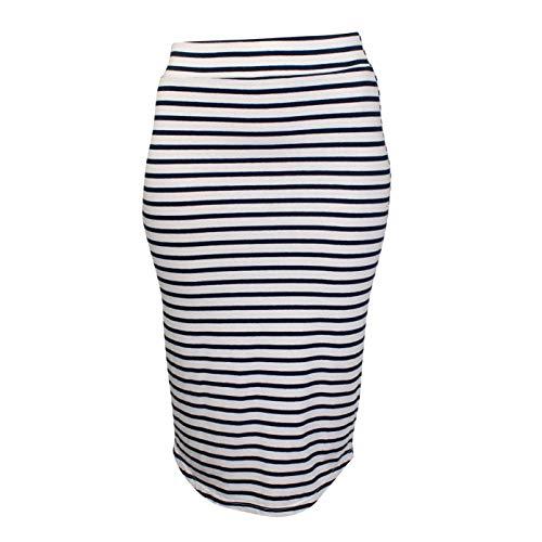 Monrow Womens Stripe Pencil Skirt Chalk Extra Small ()