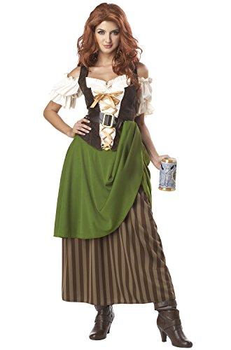 Gretchen Costume Halloween (California Costumes Tavern Maiden Adult Costume, Olive/Brown,)