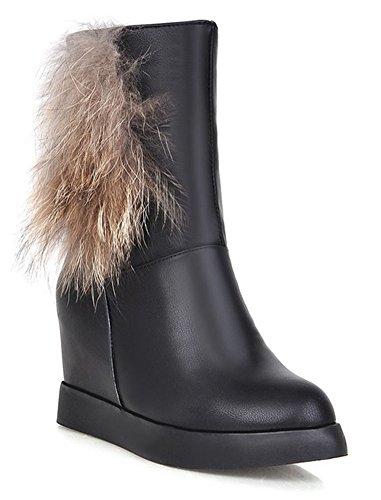 Chfso Dames Winter Trendy Stevige Ronde Neus Faux Bont Gevoerde Middenmanchette Mid Sleehak Laarzen Zwart