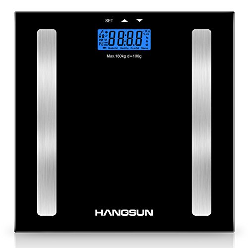 Hangsun-Digital-Bathroom-Scale-HS100-Weighing-Scale-Body-Composition-Analyser-Measures-Weight-Body-Fat-Hydration-Muscle-and-Bone-Mass-with-BMI-Calculation-Backlight-Display-Step-On-Off-Technology