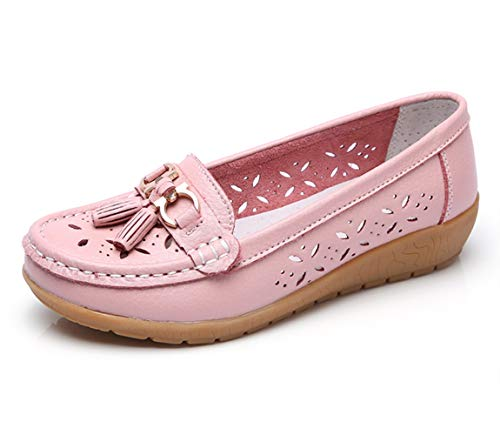(Women Loafers Leather Oxford Slip On Walking Flats Anti-Skid Boat Shoes (6 M US, W-Pink))