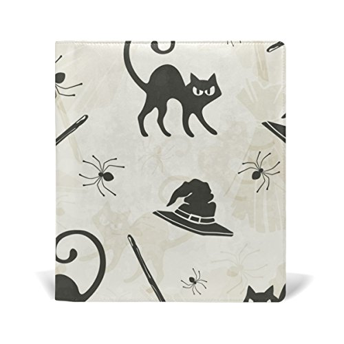 AURELIOR Halloween Cats Brooms And Witch Hats Pattern Stretchable PU Leather Book Cover 9 x 11 Inches Fits for School Hardcover Textbooks free shipping
