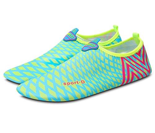 Vecjunia Womens Contrast Kleur Barefoot Strand Zwem Surf Yoga Water Schoenen Blauw