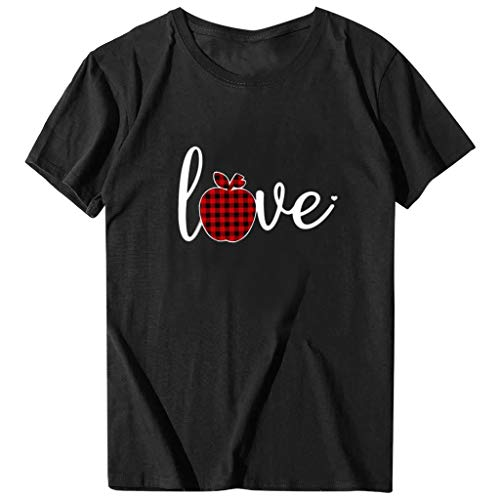 Lutos Short Sleeve Valentine's Day Graphic Shirts for Women Buffalo Plaid Heart Print Holiday T Shirts Tops Black