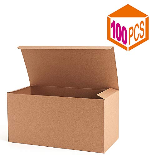 MESHA Recycled Gift Boxes 9x4.5x4.5 Inch Brown Paper Boxes 100PCS Kraft Favor Boxes for Party, Wedding, Gift