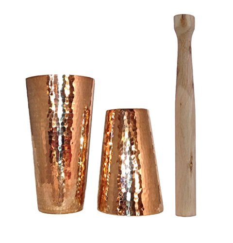 Hammered Cocktail Shaker (Premium Hammered Solid Copper Cocktail Shaker with Muddler)