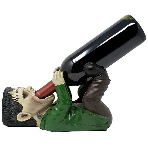 Whimsical Frankenstein The Monster Wine Bottle Holder or Decorative Tabletop Wine Rack for Scary Halloween Decorations, Man Cave Bar or Gothic Décor Display Stand and Funny Gag -