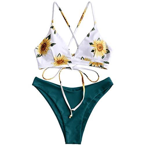 ZAFUL Damen Gepolsterter Bikini Set Bademode Badeanzug mit Blumenmuster Schnürung Zweiteilig Blau grün Small