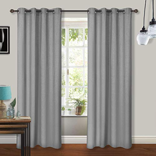 2 Pack Cotton Chambray Curtain Panel with Stainless Steel Grommet 50x96 Charcoal (Whte Curtain Rod)