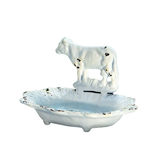 VIP Home & Garden Vintage Farmhouse Style Cast Iron Soap Dish - Cow Body Accent for Kitchen Bath (Soap Farm Dish)