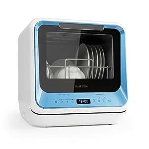 Klarstein Amazonia Mini • Lavavajillas • Máquina lavaplatos • 6 programas incluyendo eco • Necesita 5 litros de agua • Pantalla LED • Táctil • Azul
