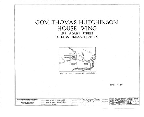 Historic Pictoric Blueprint Diagram HABS Mass,11-Milt,5A- (Sheet 0 of 4) - Governor Thomas Hutchinson House (Wing), 195 Adams Street, Milton, Norfolk County, MA 44in x 32in