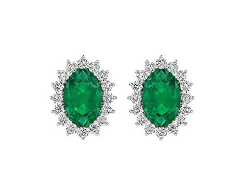 Euforia Jewels IGI Certified 14K Fine Gold Natural Emerald 6X4 mm Oval Cut and 0.21 Cts Natural Diamond I1-I2/G-H Round Cut Earring With Free Silver Post For - Diamond 14k Cut Emerald Wg