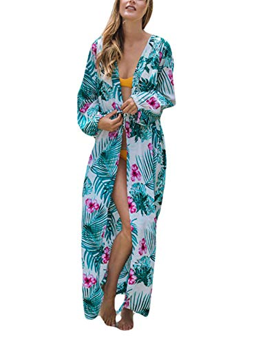 Ailunsnika Loose Polyester Floral Leaf Print Kimono Drawstring Waist Long Sleeve Open Front Bikini Cover Up ()