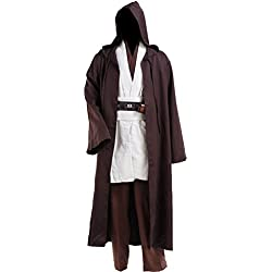Halloween Tunic Costume Set Cosplay Outfit Brown with White (White, Large)