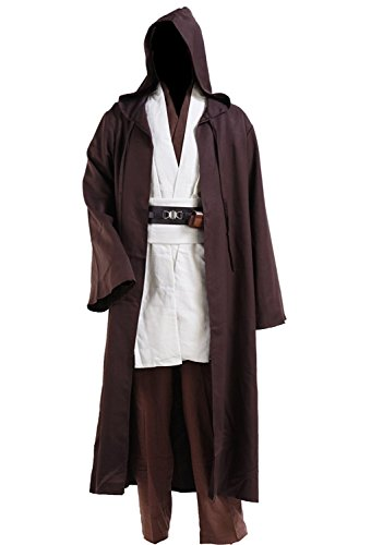 Halloween Tunic Costume Set Cosplay Outfit Brown with White (White, XX-Large)