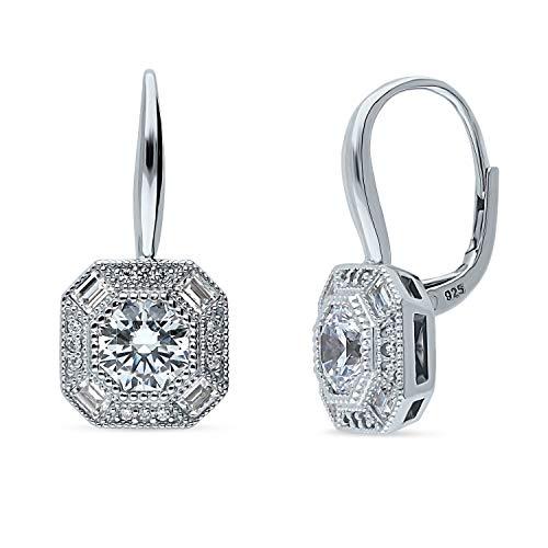 BERRICLE Rhodium Plated Sterling Silver Art Deco Milgrain Halo Leverback Anniversary Wedding Dangle Drop Earrings Made with Swarovski Zirconia Octagon Sun Cut ()