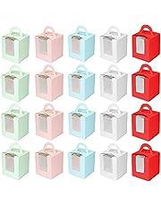 20 stuks Cupcake geschenkdozen, INTVN met handvat en displayvenster grote stevige individuele 9,5 cm x 9,5 cm x 11 cm taarthouder draagtas geschenkdoos (20 stuks, roze/blauw/groen/rood/wit)