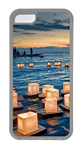 iPhone 5C Case and Cover - Water Lantern TPU Rubber Case Cover for iPhone 5C - Transparent