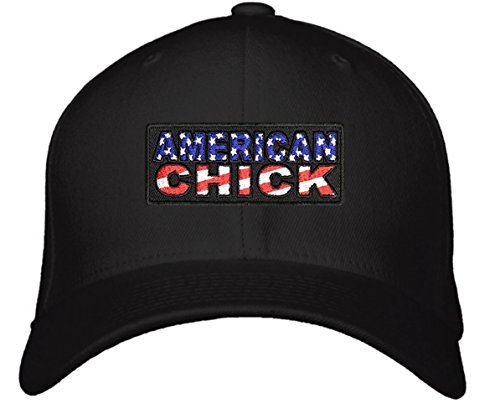 American Chick Hat - Adjustable Black/Red/White/Blue - Patriotic Womens Cap