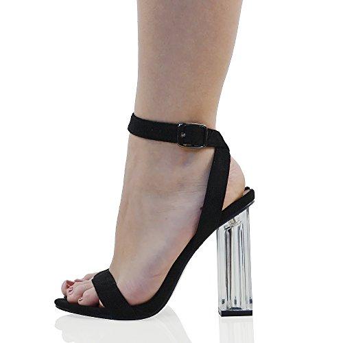 ESSEX GLAM Gamuza Sintética Sandalias con tacón de plexiglás transparente con tiras de cierre al tobillo para fiesta Negro Gamuza Sintética