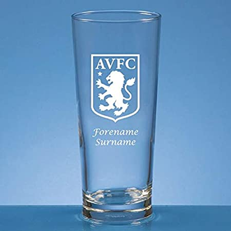 Personalised Aston Villa FC Crest Pint Glass