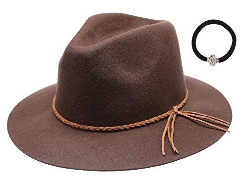 Women's 100% Wool Felt Cloche Short Brim Floppy Fedora Hat with MIRMARU Scrunchy (Braid Brown)