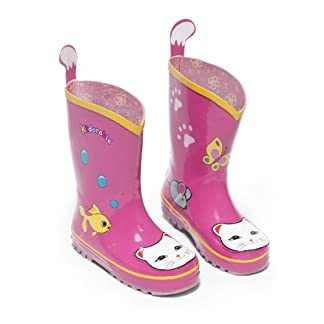 Kidorable Lucky Cat Rainboots, Pink, Kids Sizes, Natural Rubber Boots with Cotton Lining, Pull On Heel Tab & Non-Slip Sole