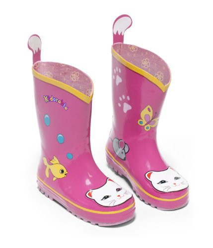 (Kidorable Girls' Lucky Cat Rain Boot (Toddler/Little Kid), Pink, 10 M)