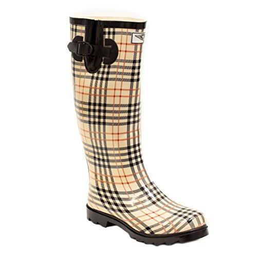 Women Rubber Rain Boots - Checkers Plaid - - Womens Rain Boots Size 6