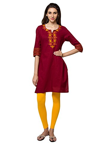 In-Sattva ethnicity Women's Indian Solid Delicate Embroidery Kurta Tunic; SM; Maroon by In-Sattva