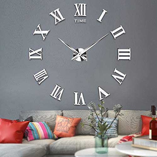 Vangold Large 3d Diy Wall Clock 2 Year Warranty Roman Numerals Clock Frameless Mirror Surface Wall Clock Home Decor For Living Room Bedroom