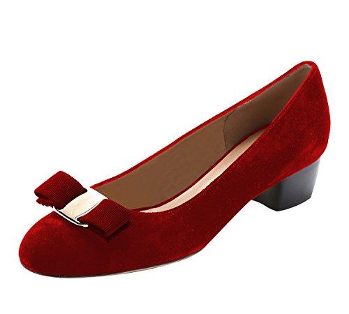 Guoar Womens Open Toe Block Tacchi Bassi Bowknot Pumps Shoes Scarpe Con Tacco Basso Per Abito Party In Camoscio Rosso