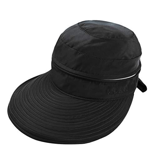 Women Wide Brim Cap UV Protection Sun Hats Visor Hats Wearable on Both Sides (Black)