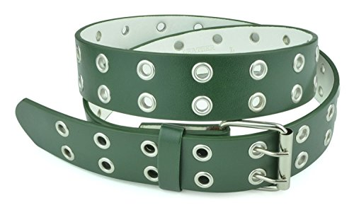 Belle Donne - Women's Double Grommet Leather Jeans Belt, Dark Green , Size (Large Dark Green)