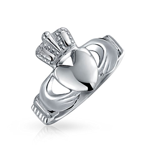 Bling Jewelry BFF Celtic Irish Friendship Couples Promise Claddagh Ring for Men for Women Silver Tone Stainless Steel