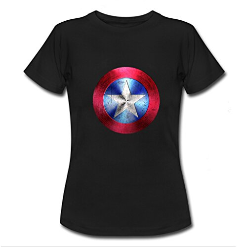 Nesth Captain America womens Ladies Tee Shirt Personalized Customized Size L Black