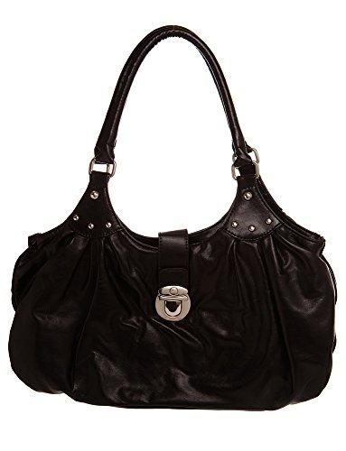 Large Silver Toned Flap Hobo women handbag Shoulder Handbag by Handbags For All