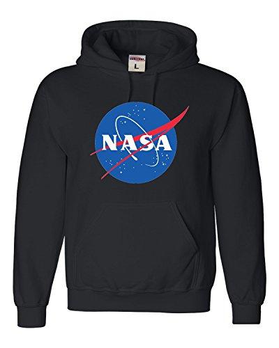 Go All Out Large Black Adult NASA Logo Sweatshirt Hoodie (Real Logo Sweatshirt)