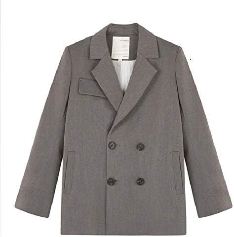 WHBDFY Brand Fashion Zweireiher mit gekerbtem Kragen Frauen Blazer Jacke Elegante Taschen Weibliche Oberbekleidung Moderne Lady Workwear
