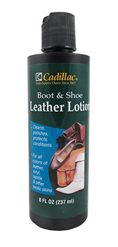 Cadillac Boot and Shoe Leather Lotion 8 Fl Oz - Conditions, Cleans, Restores, Protects and Polishes all Colors of Leather - Works on Footwear, Furniture, Handbags, Jackets, Wallets and More.