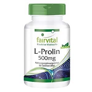 L-prolina 500mg - VEGANO - ALTA DOSIS - 90 comprimidos - aminoácido