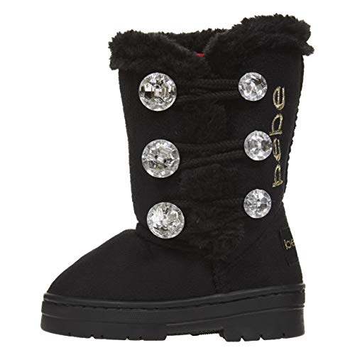 Image of bebe Toddler Girls Winter Boots Rhinestones Buttons Slip-On Mid-Calf Fashion Shoes