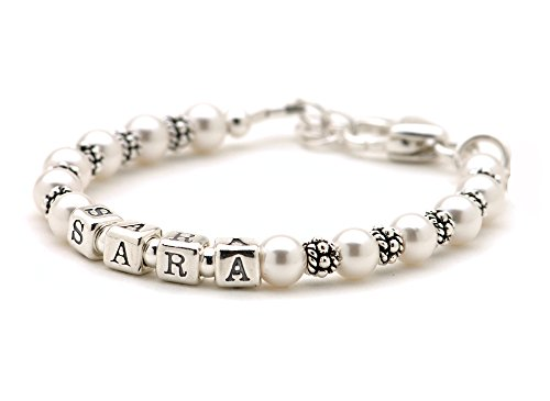 Lily Brooke Personalized Childs Cultured Freshwater Pearl Bracelet - Sterling Silver Beads & Growth Chain