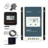 EPEVER 30A MPPT Solar Charge Controller TracerAN 3210AN + Remote Meter MT-50 + Temp Sensor Solar Charge with LCD Display for Gel Sealed Flooded Lithium Battery Charging